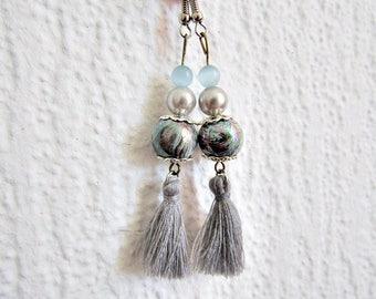 Earrings Bohemian blue fancy gray