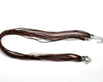 Brown Organza Ribbon and thread 43cm waxed cotton cord necklace