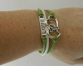 heart bracelet Valentine's day green and white