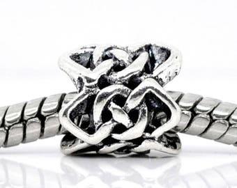 1 spacer metal openwork pattern 9 * 8 mm p/bracelet bead pandora style