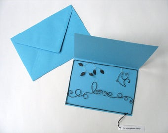 Postcard in wire, post card, card with envelope, wire Word