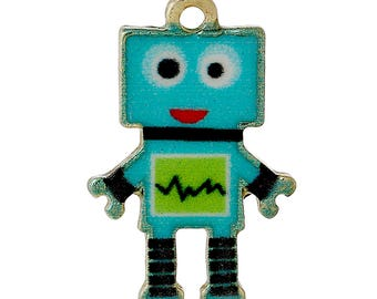 "set of 2 charms/pendant ""robot"" enamelled 22X14mm"