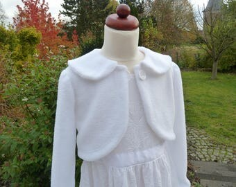 With collar, girl jacket, Bolero jacket, jacket, wedding, Festival jacket, flower girl, communion jacket white fleece,