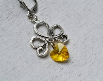 HEART SWAROVSKI Crystal Pearl drop earrings