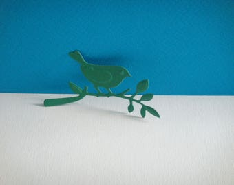 Cut Bird on a branch with green paper