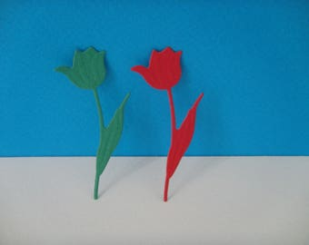 Lot 2 tulips red and green design