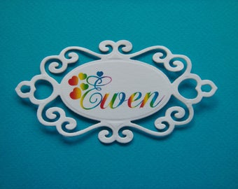 Cutout tag multicolored custom name in white canson paper for creation (specify your name)