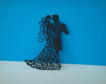 Cut Waltz black married for scrapbooking and card