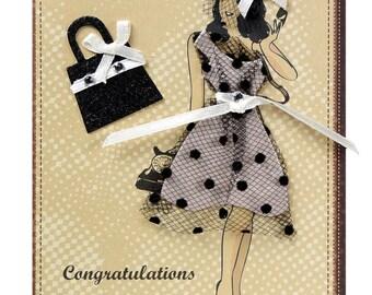 Chic woman congratulations card