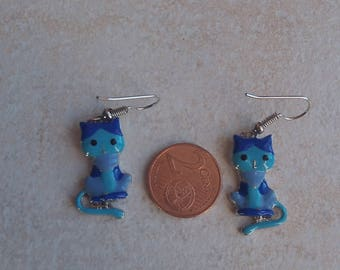 Blue Cat earring