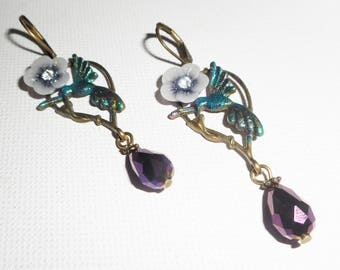 Birds and purple flowers on a bronze charm earrings