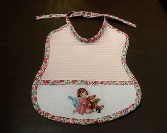 Pale pink Terry bib embroidered girl and her cub