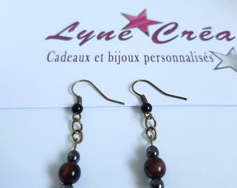 Christmas gift idea - earrings Bronze Tiger eye and Hematite