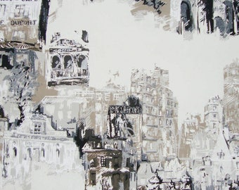 Montmartre, fabric, houses, buildings, Paris, cotton canvas