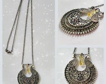 "Pendant silver antique chain fine mesh with semi-precious ""citrine"" stone."