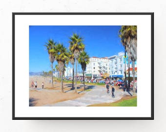 Venice Beach Art Print, California Wall Art, Digital Download, Beach Wall Art, Venice Beach Print, Printable Art, Venice Beach Poster