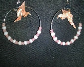Salmon and white origami crane earrings