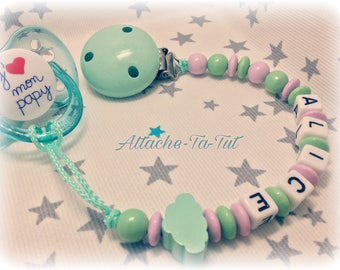 Pacifier, pacifier personalized cloud Mint and pale pink.