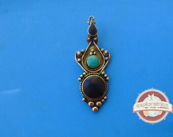 ethnic pendant silver and stone black and blue 23X60MM tibet nepal