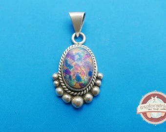 Silver Oval Pendant and stone Opal 24X40mm