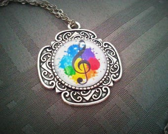 Necklace music Note, treble clef silver pattern 20mm cabochon glass pendent