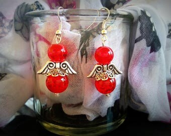Angels red, cracked red beads and Silver earrings antiqued