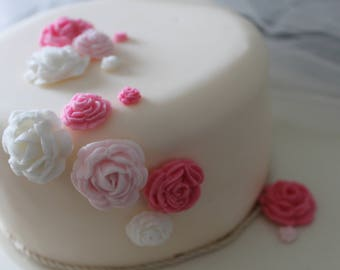 Hand Crafted Edible Roses in colours of our choice and varyied amounts  - Cupcake Toppers or wedding/celebration cake