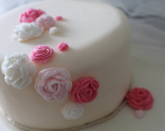 50 Hand Crafted Fondant Paste Roses in shades of pink and white  - Cup Cake Toppers or wedding/celebration cake