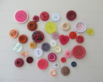 35 buttons multicolor resin 2 hole 4 holes
