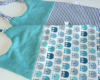 Set of two towels canteen, turquoise, owls