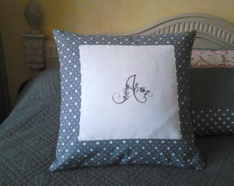 grey Cushion cover, Monogram embroidery machine, on canvas
