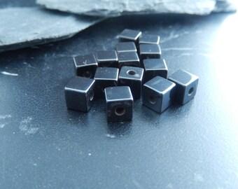 10 square beads 6mm hematite