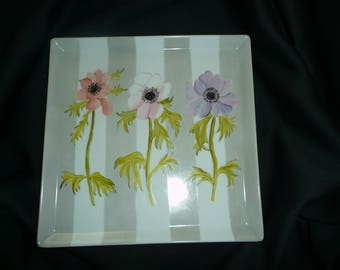 Hand painted porcelain square plate: anemones on a background with grey stripes pattern