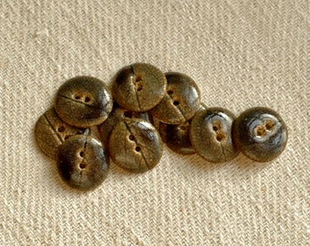 Small porcelain in a set of 10 buttons - Brown and slate grey