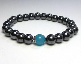 Blue jade and hematite semi precious stones bracelet