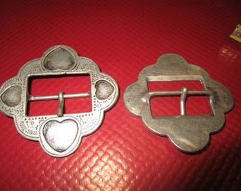fancy hearts engraved brushed silver metal buckle