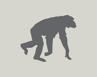 Chimpanzee. Chimpanzee silhouette. Monkey stencil. Adhesive vinyl stencil. (ref 274)