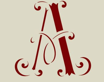 Stenciled monogram. Stencil old letter (ref 53)