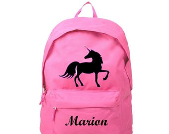 Backpack pink Unicorn personalised with name