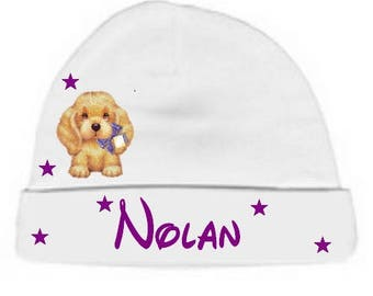 Personalized with name white dog baby Hat