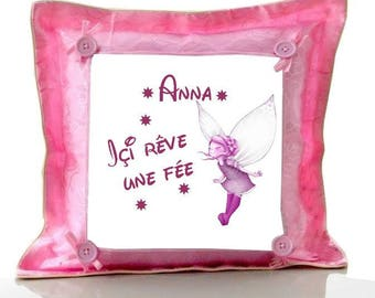 Pink cushion here dream fairy personalized with name