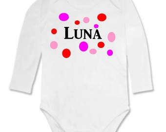 Bodysuit round different personalized with name