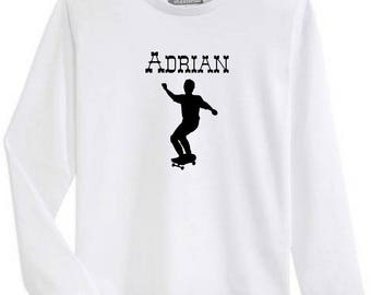T-shirt boy Sketboard long sleeve personalized with name