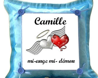 Blue cushion mi-ange half-demon personalized with name