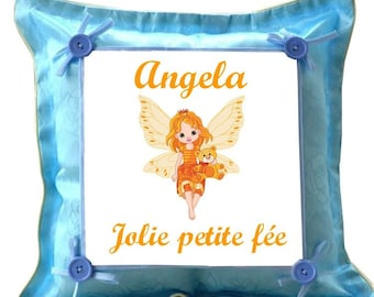 Pretty little fairy blue pillow personalized with name