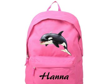 Backpack pink whale personalized with name