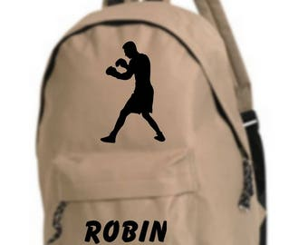 bag has beige Boxer personalized with name