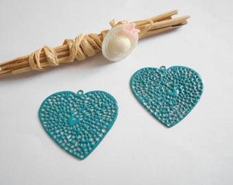 x 2 turquoise enamel heart charms