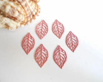 set of 6 leaf enamel prints old pink