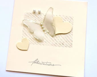 Congratulations wedding, simple, butterfly and heart card. hand made